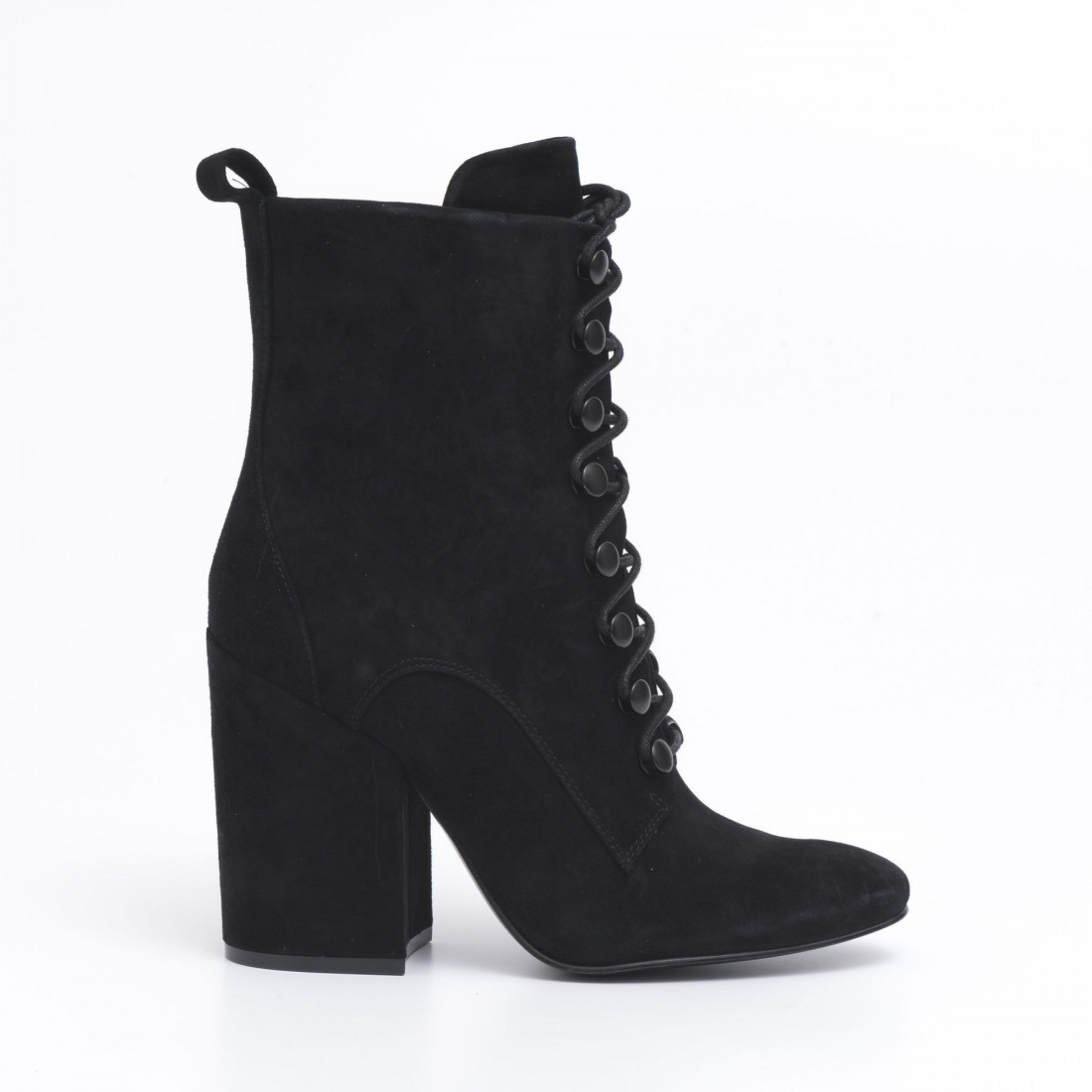 Lace up Bridget ankle boots in black suede