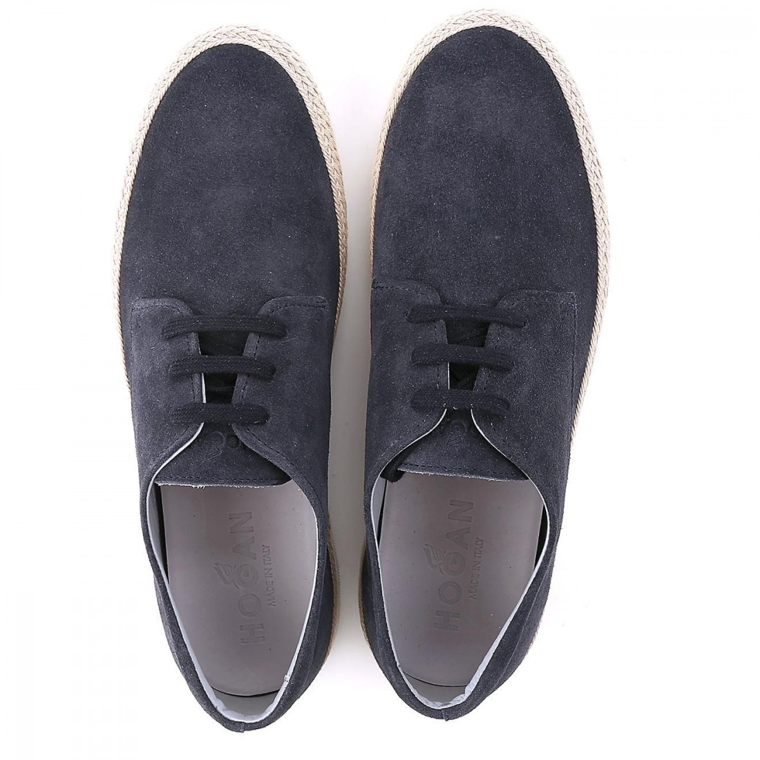 H358 derby shoes in blue suede with cord detailing