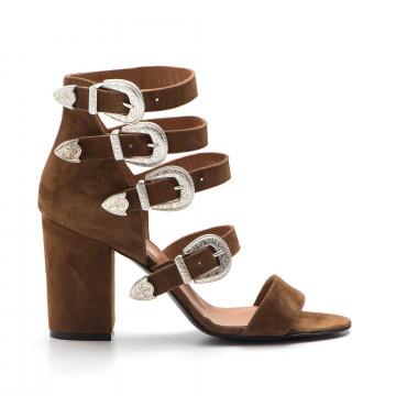 sandals woman via roma 15 2700camoscio cuoio 3248