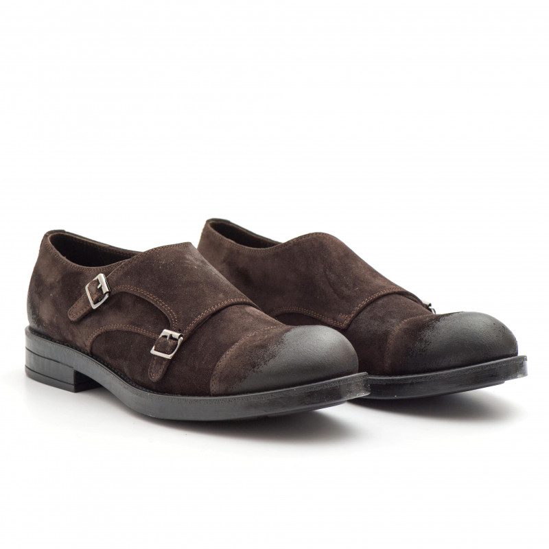 check out 120bb b8212 Double monk straps in handwaxed brown suede