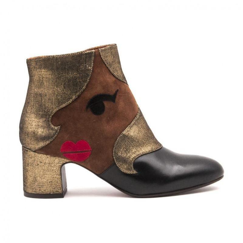 471415a19e595c Nala Nala Platinum And Black Chie Boots Mihara Ankle 1nq56P6