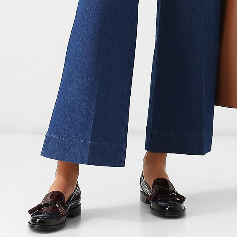 Blu, black and bordaux Tod's moccasins