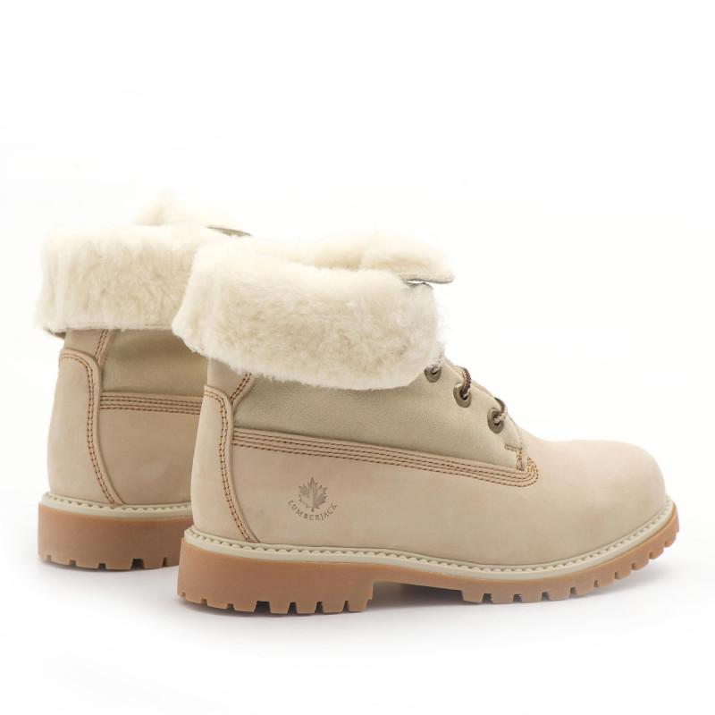 Cream nabuk Lumberjack River lace up ankle boots