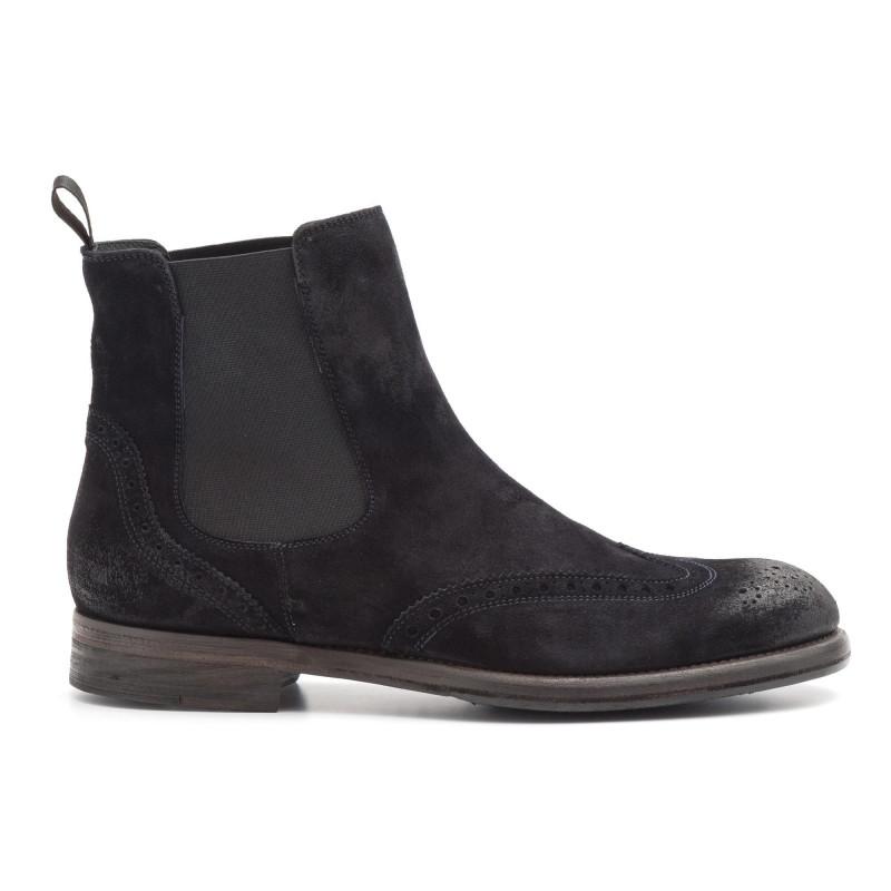 c6a45a05886ec Half brogue J. Wilton ankle boots in blue suede