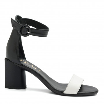 sandals woman jemi 406pelle nero bianco 4687