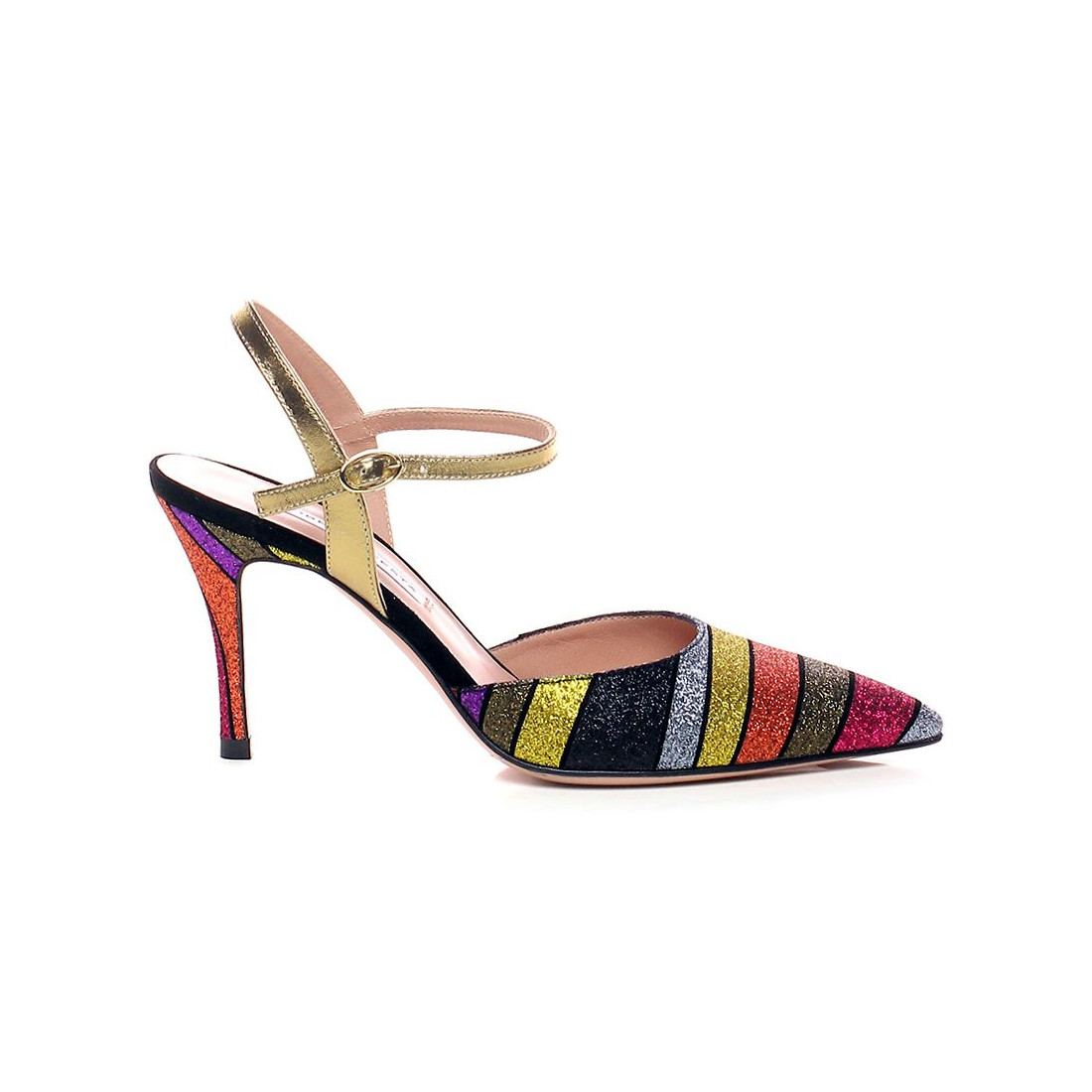 multicolor glitter pumps