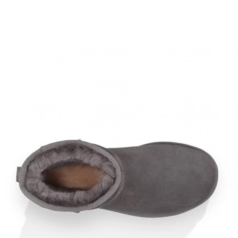 UGG Classic Mini II grey booties in real fur