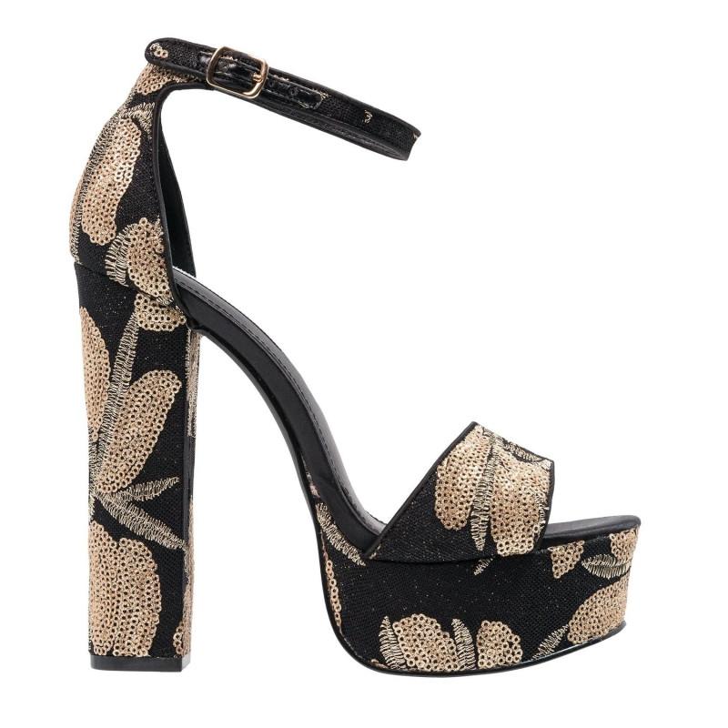 GONZO platform heels in black fabric