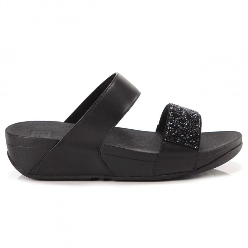 pretty nice 64077 a7b78 Black Fitflop Sparklie Crystal Slide with strass