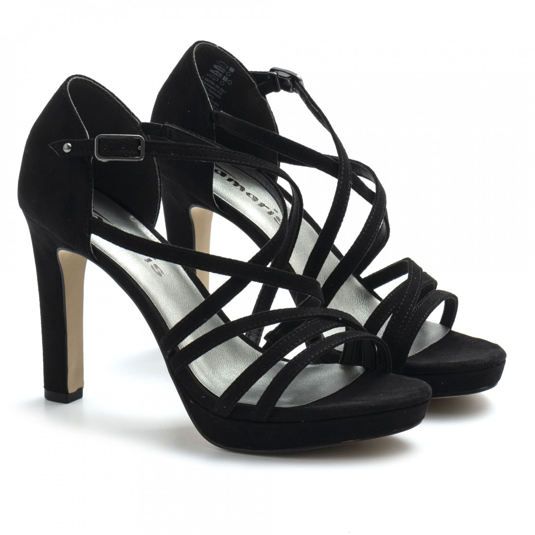 Black suede Tamaris sandals with high heel