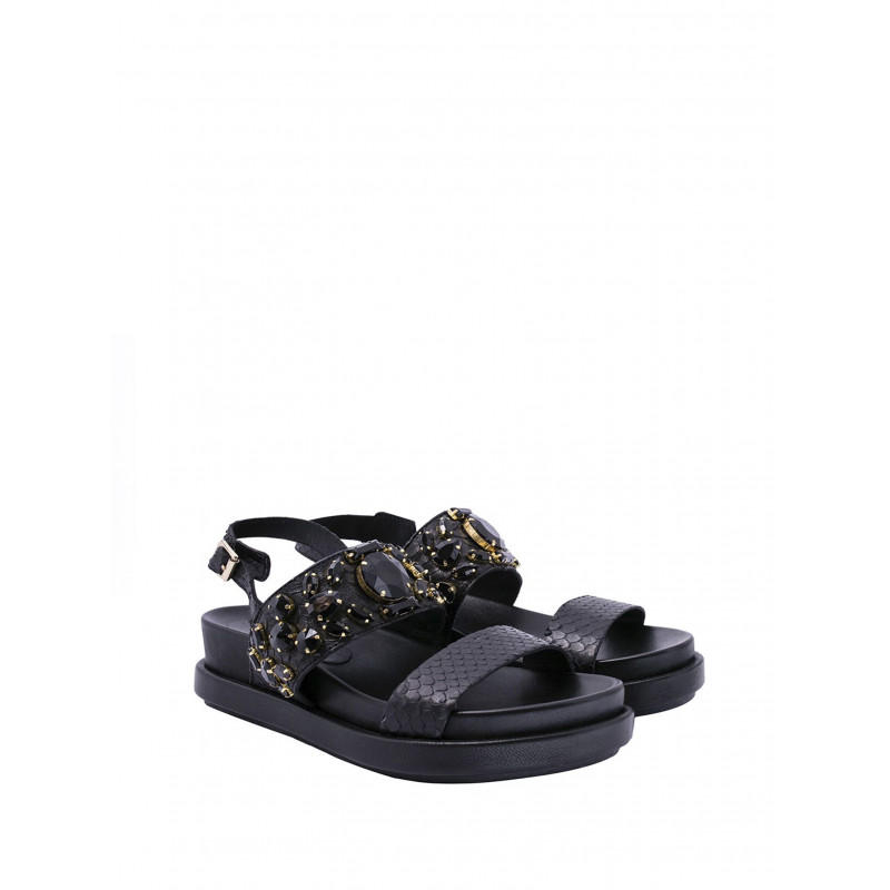 sandals woman ash stone hazard  flat black 282