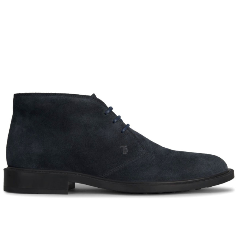short ankle boots in blue soft suede