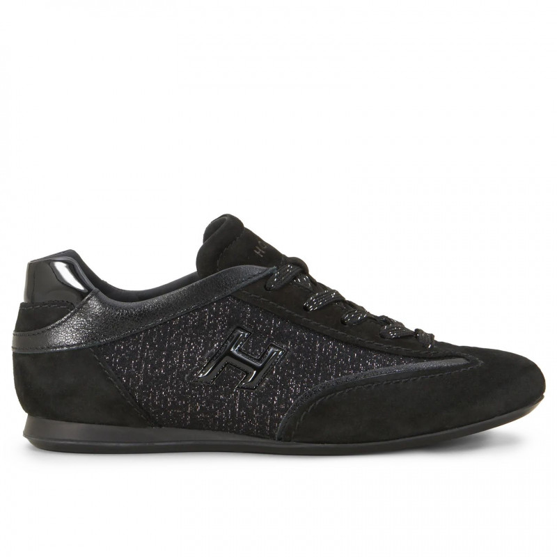 nouvelle arrivee 21778 867ba Black suede and shiny fabric Hogan Olympia Sneakers