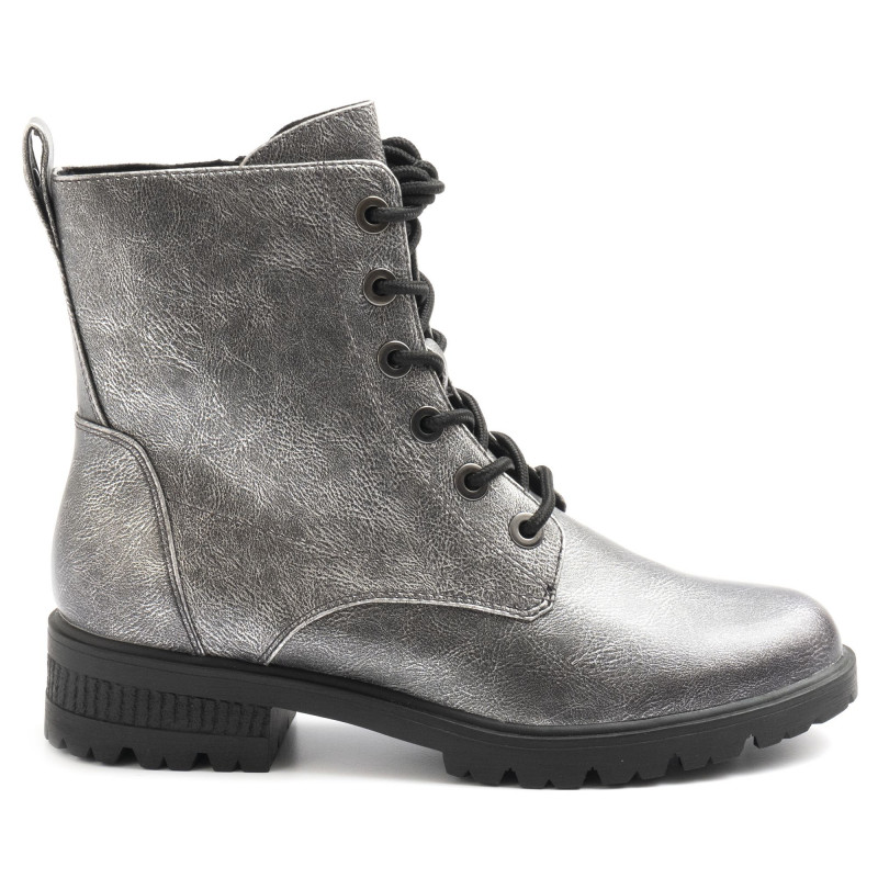 Silver metallic effect Tamaris lace up ankle boots