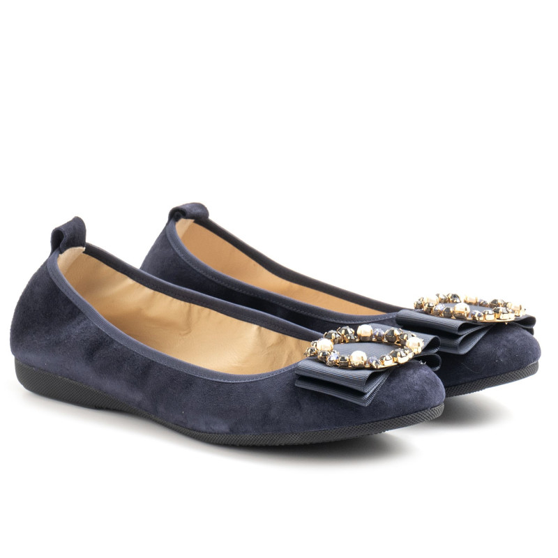 La Ballerina by Sonja Ricci in blue suede with gems
