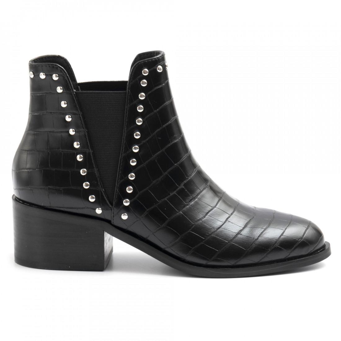Steve Madden Cade Ankle Boot Black Croco