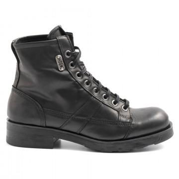 lace up ankle boots man oxs frank 1901 mleather black 6326
