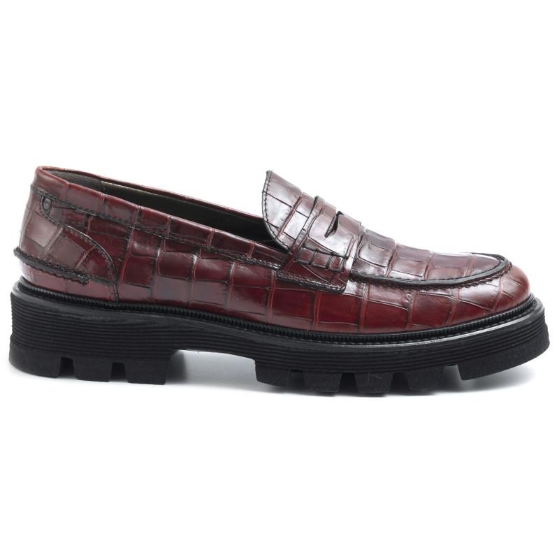 50% price new appearance wide varieties Women's Alfredo Giantin mocassin in burgundy croco print leather