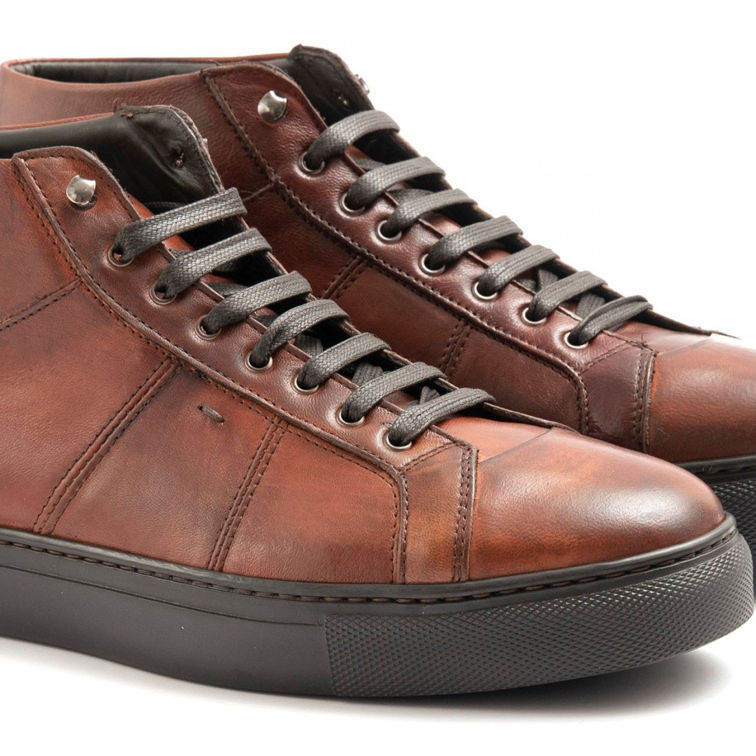 lace up ankle boots man sangiorgio 7503montone cuoio 6510