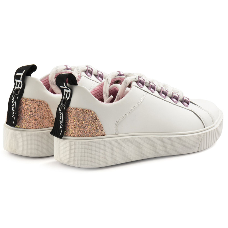 Women's Tosca Blu Snekers In White Leather With Pink Glitter