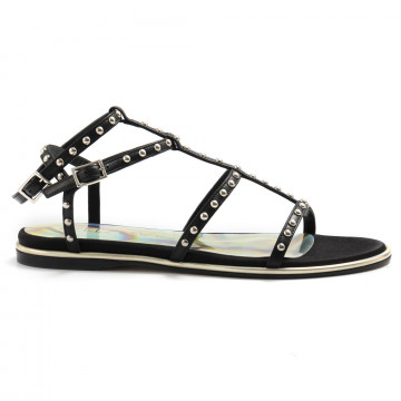 sandals woman lella baldi lt015bisnat raso nero 6954