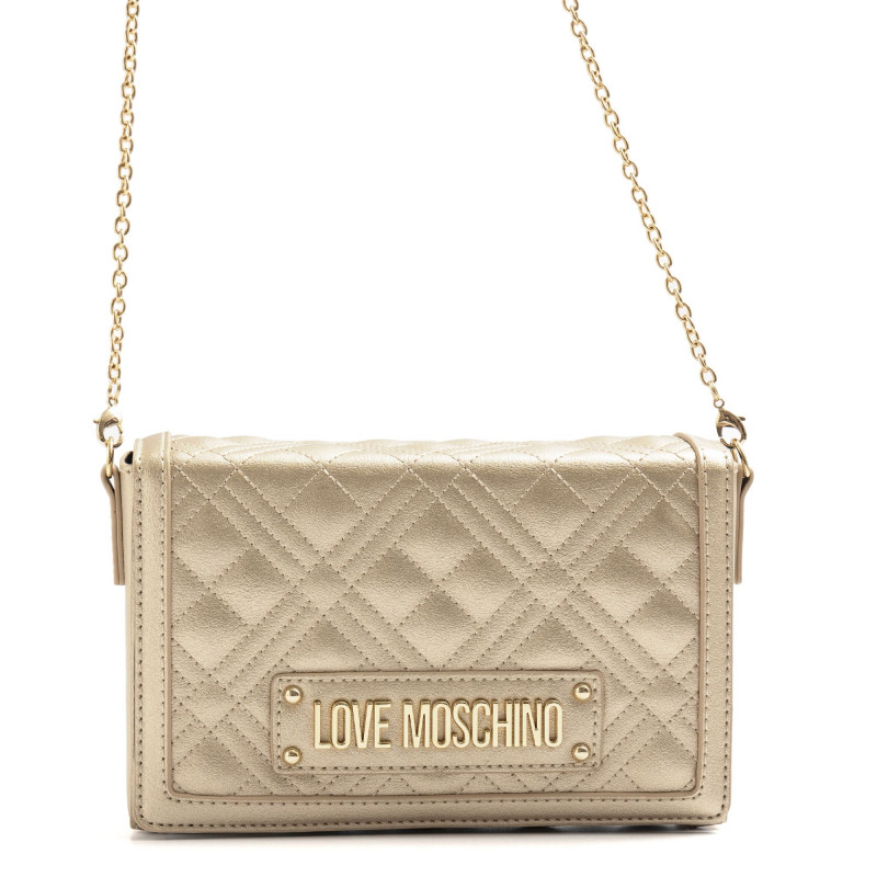 Gold Love Moschino Clutch Bag With Logo