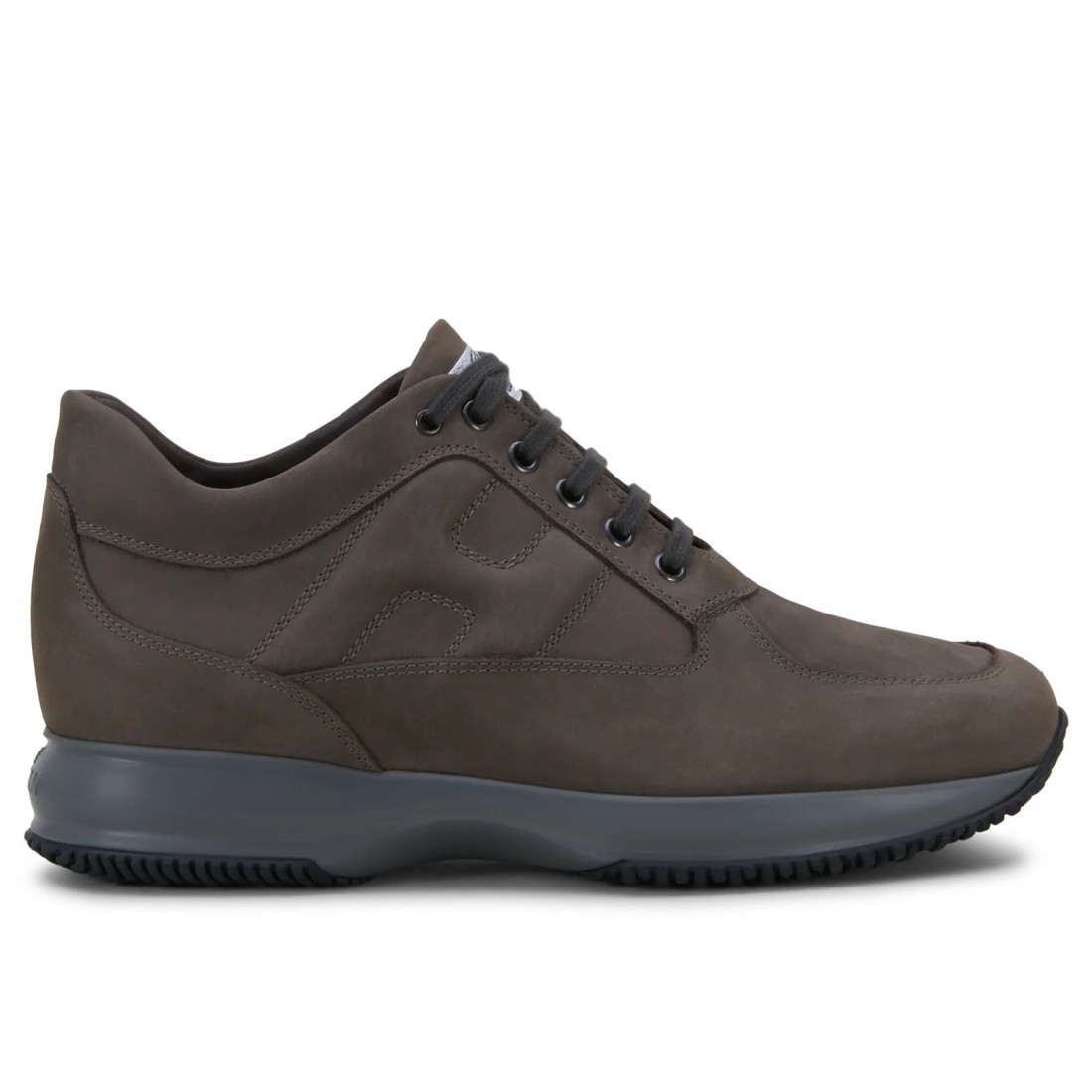 Brown grey nubuck Hogan Interactive sneakers