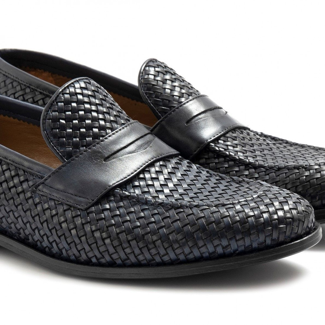 loafers man sangiorgio 1012vitello blu intreccio 6848