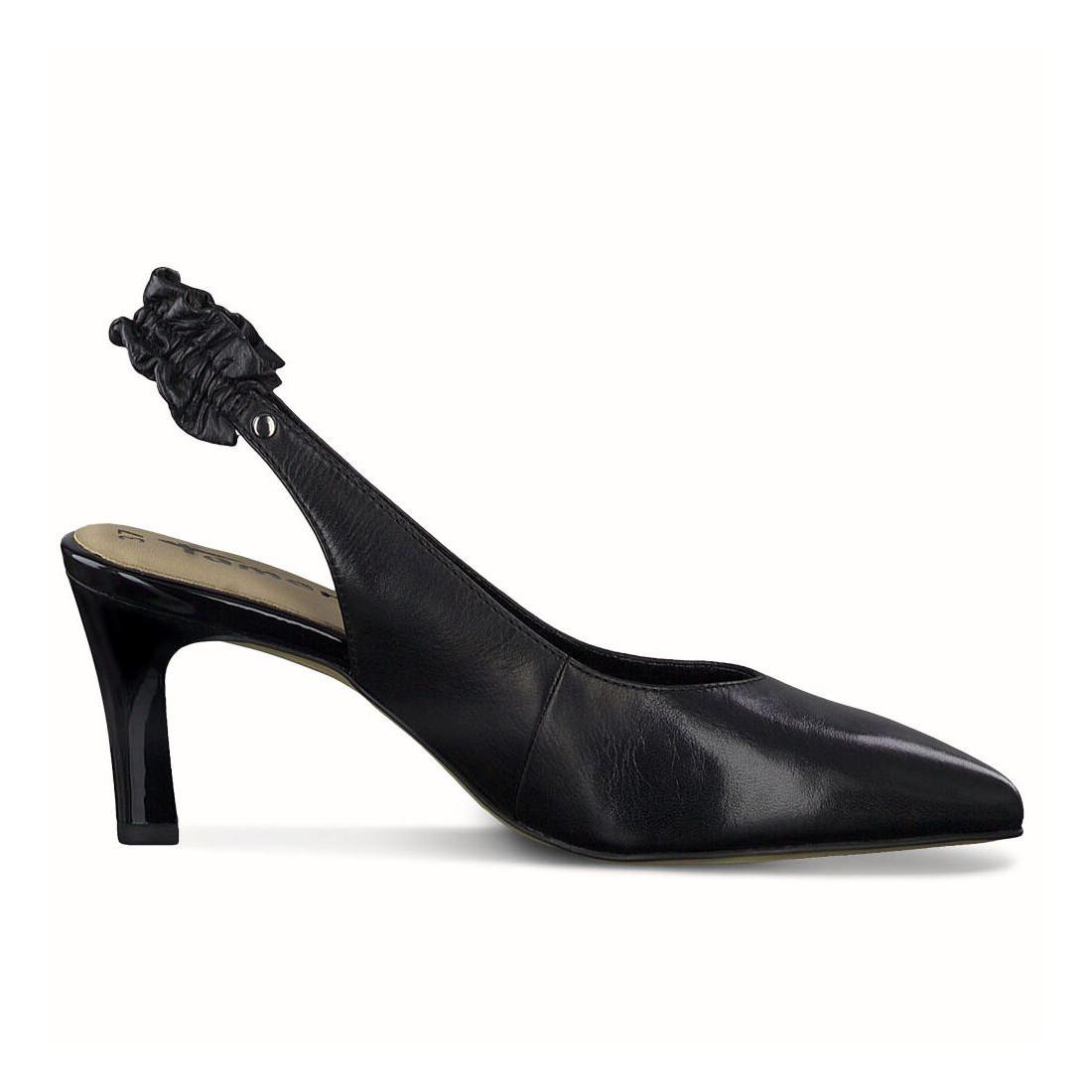 Black leather Tamaris sling back shoes