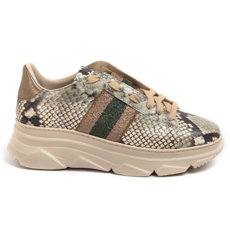 Stokton Sneakers aus Leder mit grünem und goldenem Python Effekt