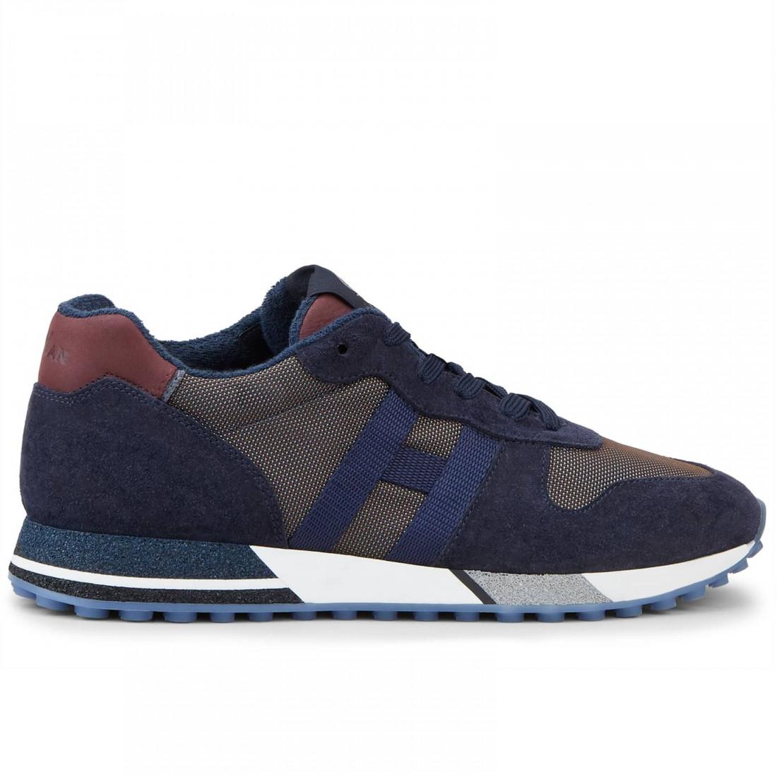 Men's Hogan H383 blue and burgundy sneakers