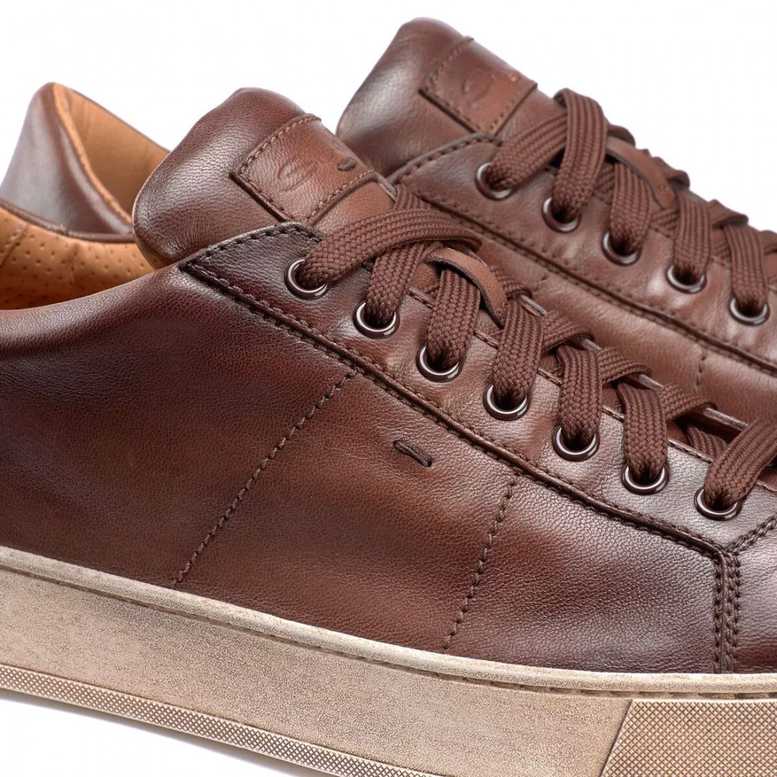 Brown Santoni Gloria men's sneaker in