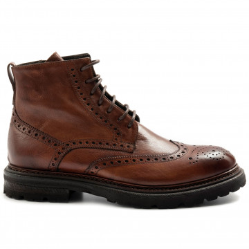 lace up ankle boots man brecos 9795bufalo brandy 7957