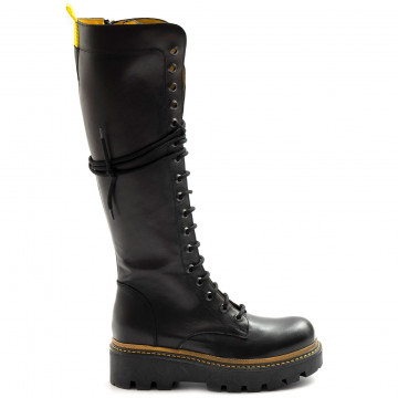 military boots woman zoe boston01vit nero giallo 8045