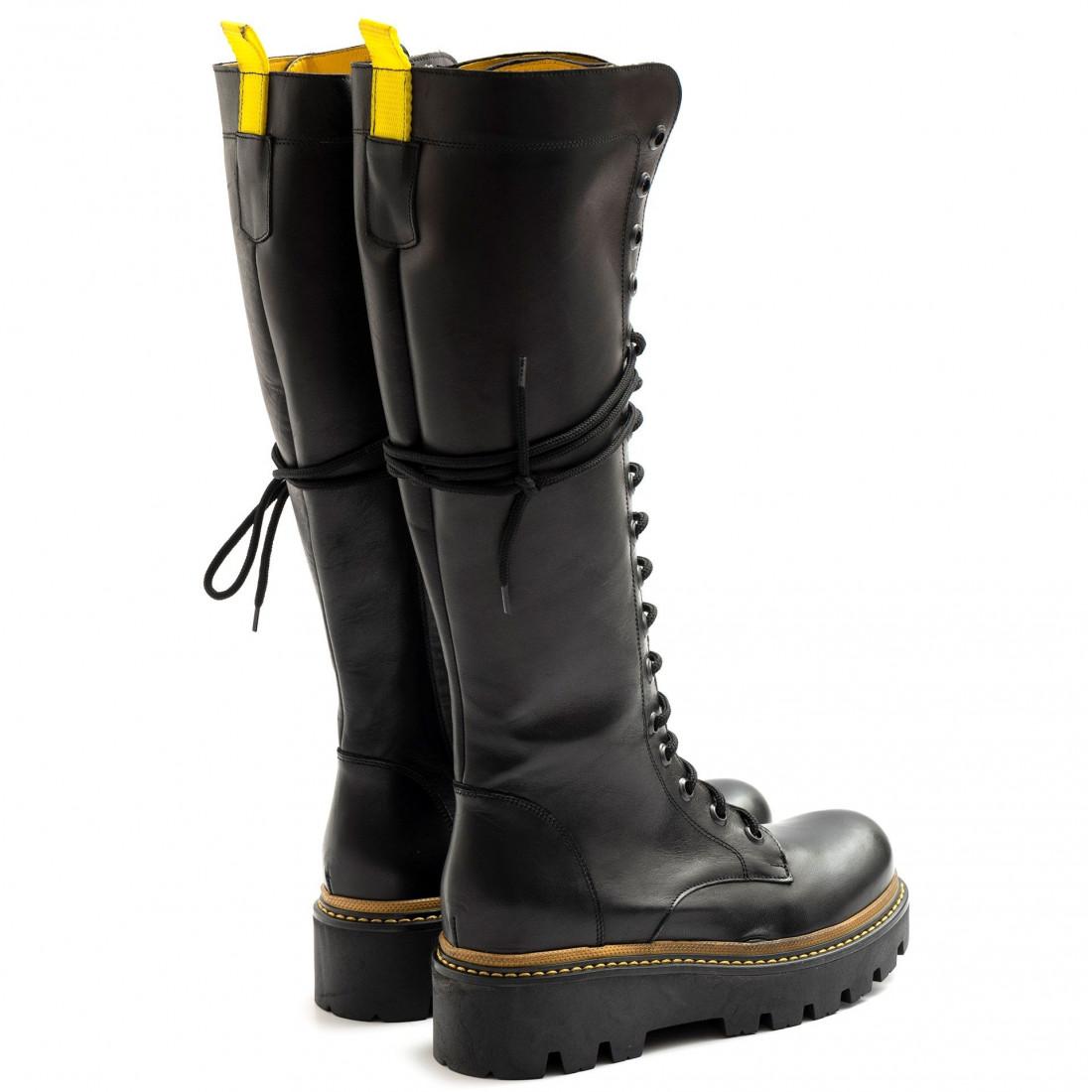 military boots woman zoe boston01vit nero giallo 8045