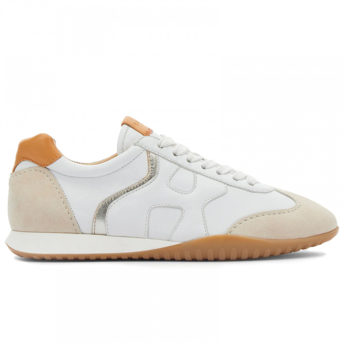 Hogan Olympia Z women's sneaker in white leather and beige suede