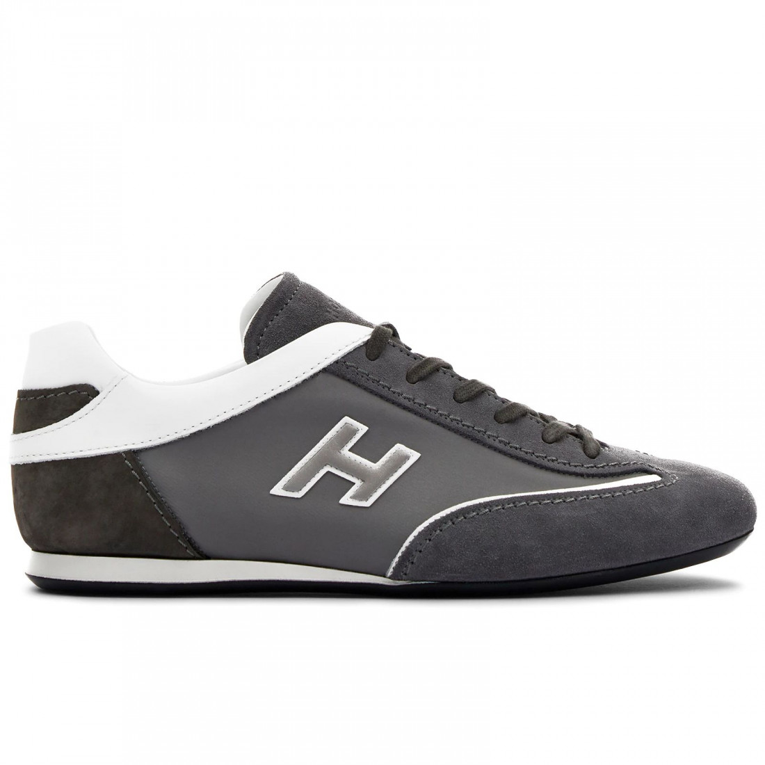 Hogan Olympia men's sneaker in grey suede and fabric