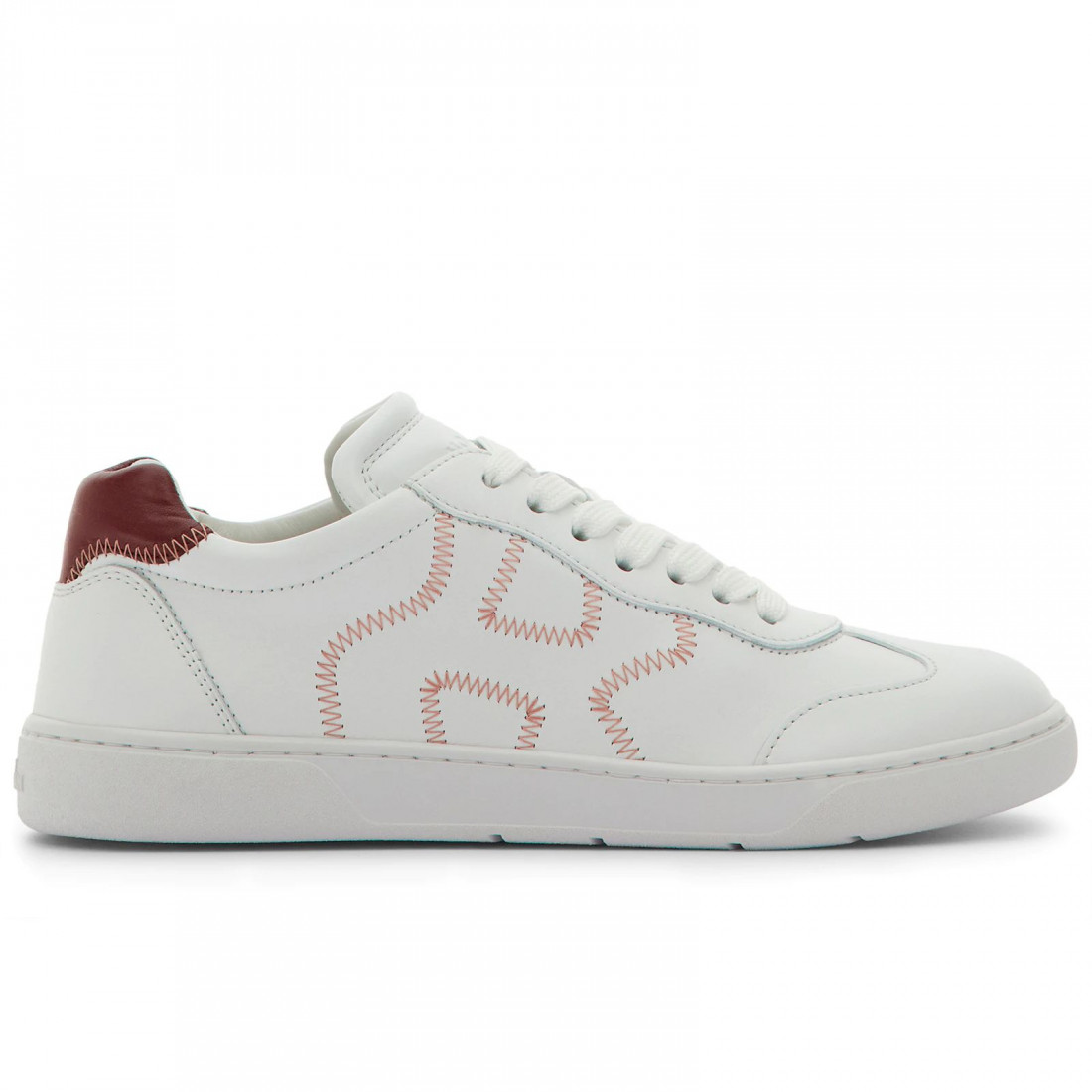 Hogan H327 women's sneaker in white and burgundy leather