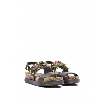 sandals woman ash stone nazaro flat black 353