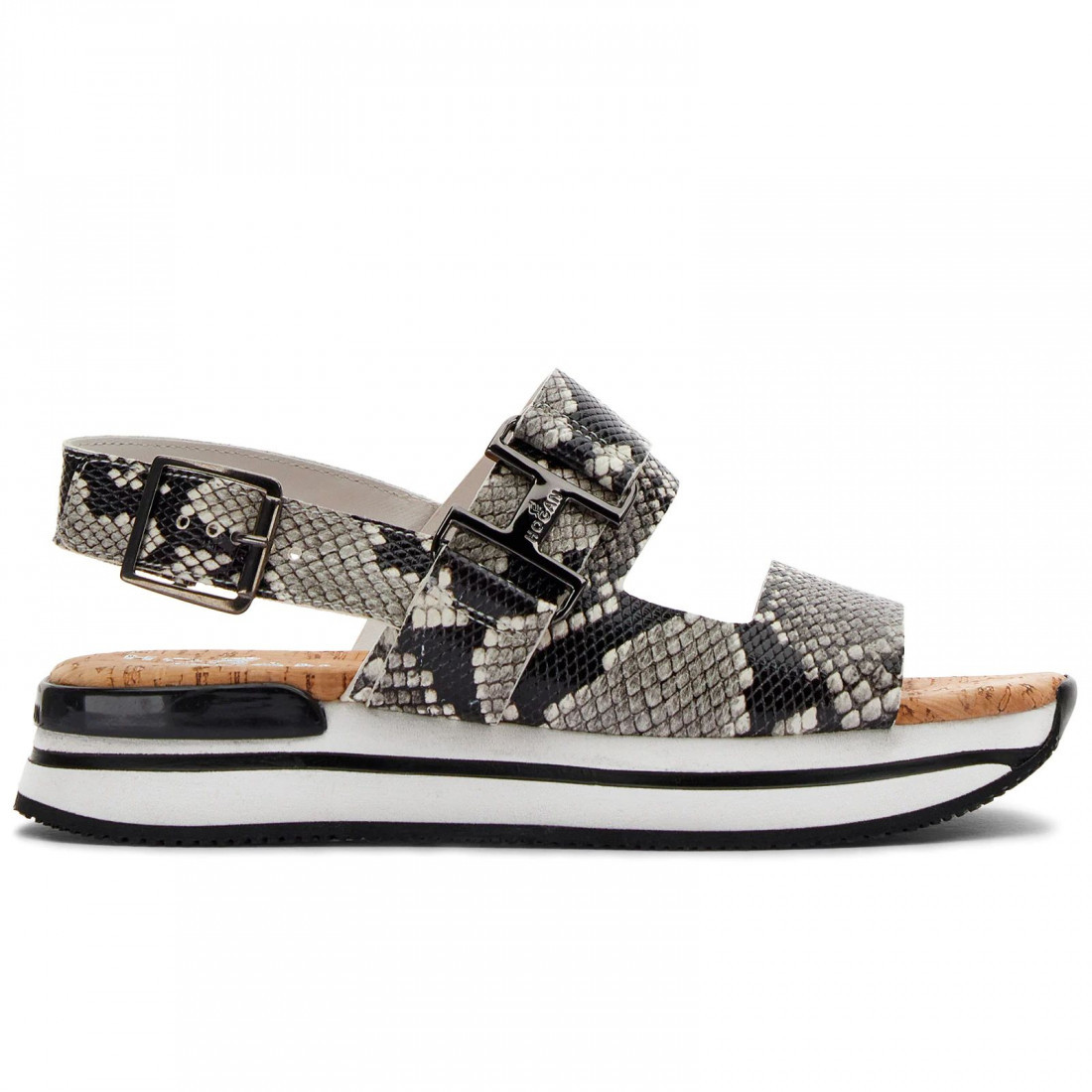 Hogan H222 Sandals with Straps in reptile print leather