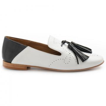 loafers woman bruglia milano 8406bufalo bianco nero 8340