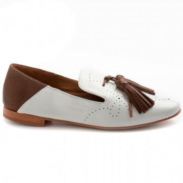 loafers woman bruglia milano 8406bufalo bianco marrone 8341