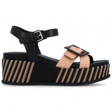 sandals woman elvio zanon en4501parma nude nero 8665