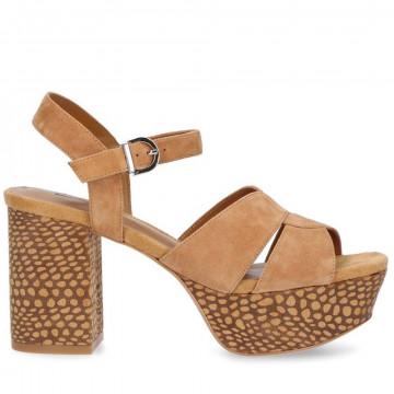 sandals woman jeannot gj513camoscio cuoio 8679