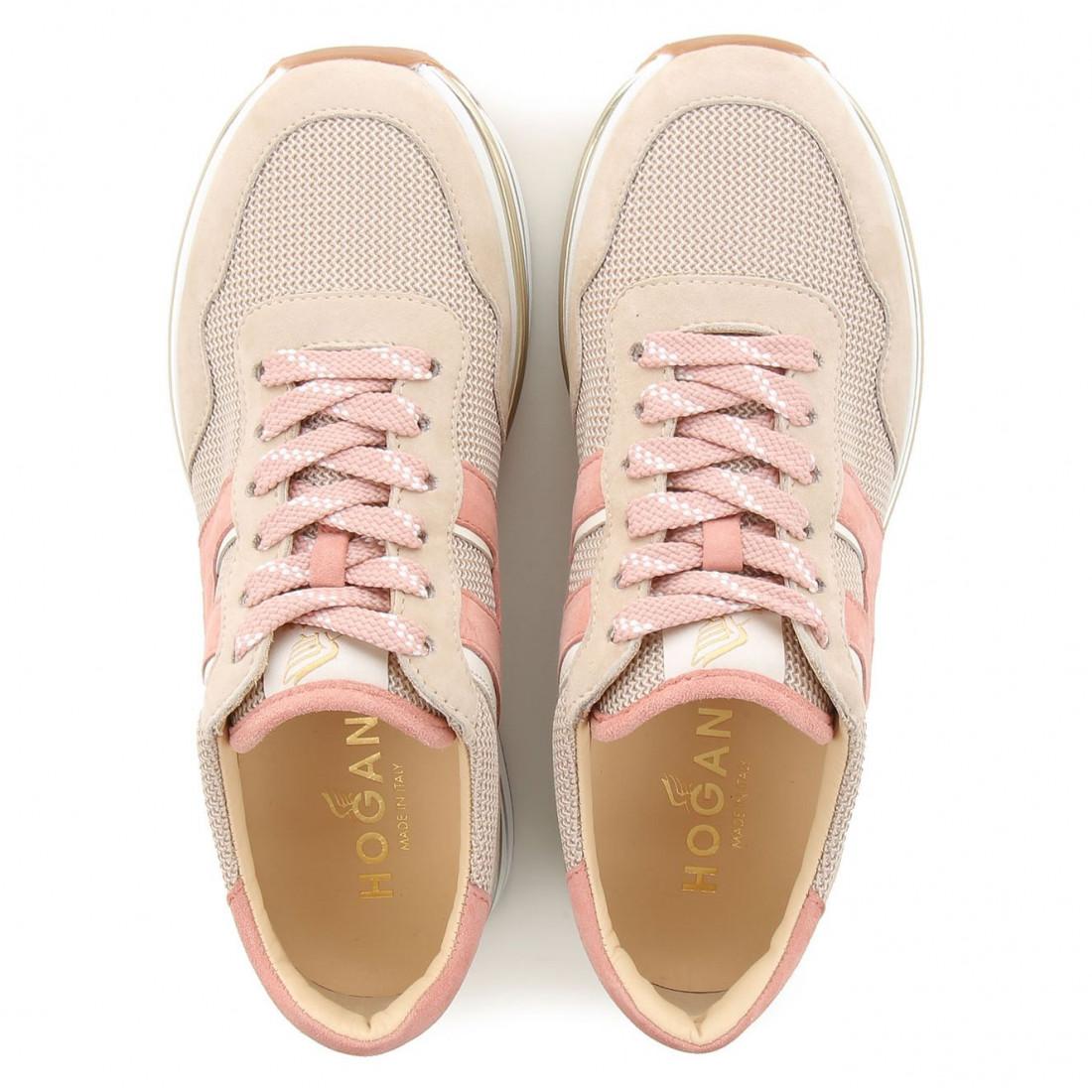 Sneaker Hogan Midi H222 in pink - beige suede and fabric