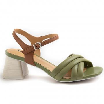 sandals woman jeannot gj463e nappa militare cuoio 8784